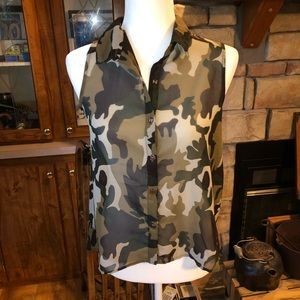 Truth camo sheer blouse size s